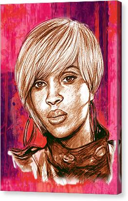 Mary J. Blige Stylised Pop Art Drawing Potrait Poser Canvas Print by Kim Wang
