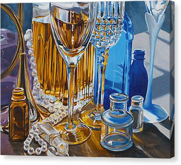 Mary Lou's Bottles Canvas Print by Lisa Frick