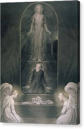 Mary Magdalene At The Sepulchre Canvas Print by William Blake