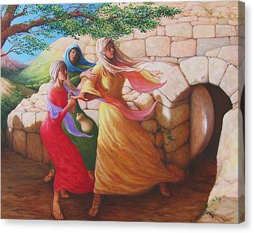 Mary Magdalene Discovering The Empty Tomb Canvas Print by Herschel Pollard