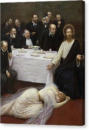 Mary Magdalene In The House Of The Pharisee Canvas Print by Jean Beraud