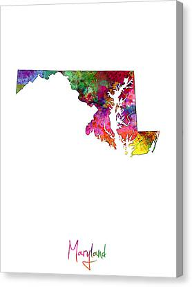 Maryland Map Canvas Print by Michael Tompsett