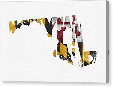 Maryland Typographic Map Flag Canvas Print by Ayse Deniz