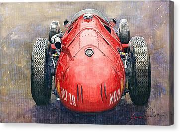 Maserati 250f Back View Canvas Print by Yuriy Shevchuk