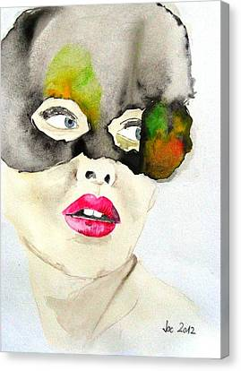 Mask In Watercolor Canvas Print by Jacqueline Schreiber