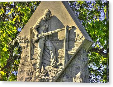 Massachusetts At Gettysburg 1st Mass. Volunteer Infantry Skirmishers Close 1 Steinwehr Ave Autumn Canvas Print by Michael Mazaika