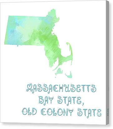 Massachusetts - Bay State - Old Colony State - Map - State Phrase - Geology Canvas Print by Andee Design