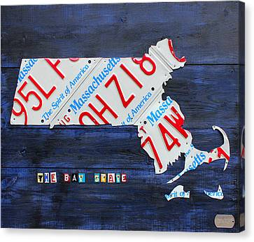 Massachusetts License Plate Map Canvas Print by Design Turnpike