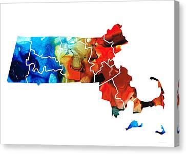 Massachusetts - Map Counties By Sharon Cummings Canvas Print by Sharon Cummings
