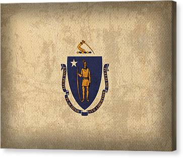 Massachusetts State Flag Art On Worn Canvas Canvas Print by Design Turnpike