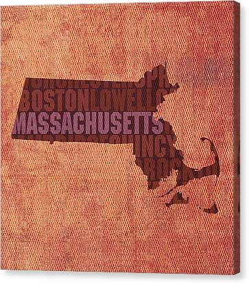 Massachusetts Word Art State Map On Canvas Canvas Print by Design Turnpike