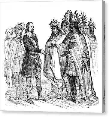 Massasoit Forges Treaty With Pilgrims Canvas Print by British Library