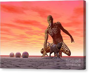 Master And Servant - Surrealism Canvas Print by Sipo Liimatainen