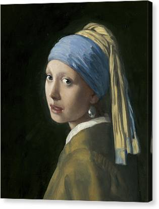 Master Copy Of Vermeer Girl With A Pearl Earring Canvas Print by Terry Guyer