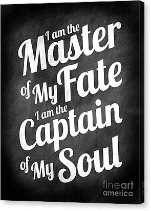 Master Of My Fate - Chalkboard Style Canvas Print by Ginny Gaura