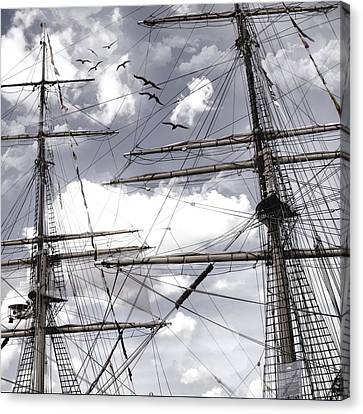 Masts Of Sailing Ships Canvas Print by Evie Carrier