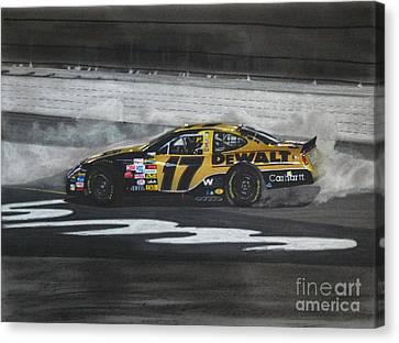 Matt Kenseth Victory Burnout Canvas Print by Paul Kuras