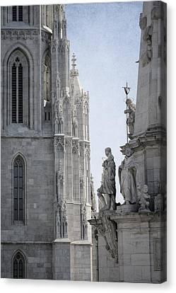 Matthias Church And Holy Trinity Column Canvas Print by Joan Carroll