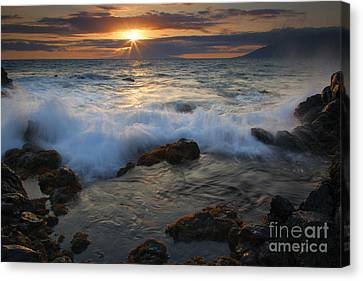 Maui Sunset Spray Canvas Print by Mike  Dawson