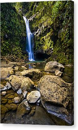 Maui Waterfall Canvas Print by Adam Romanowicz