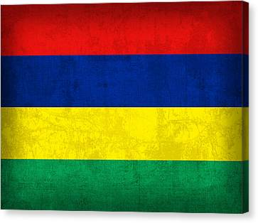 Mauritius Flag Vintage Distressed Finish Canvas Print by Design Turnpike