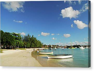 Mauritius, Grand Baie, Boat At Water's Canvas Print by Anthony Asael
