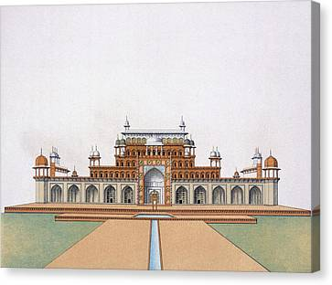 Mausoleum Of Akbar The Great At Sekandra Canvas Print by German School