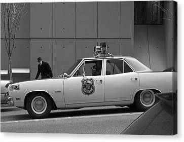 Mayberry Meets Seattle - Vintage Police Cruiser Canvas Print by Jane Eleanor Nicholas