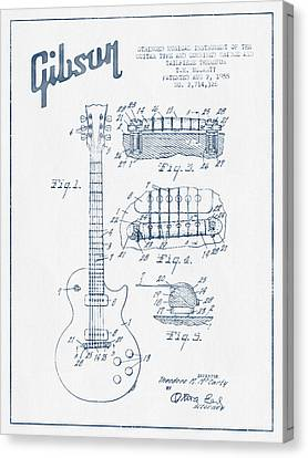 Mccarty Gibson Les Paul Guitar Patent Drawing From 1955 - Blue I Canvas Print by Aged Pixel