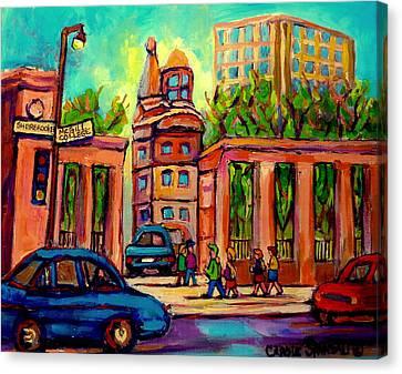Mcgill University Roddick Gates Montreal Canvas Print by Carole Spandau