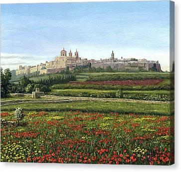 Mdina Poppies Malta Canvas Print by Richard Harpum