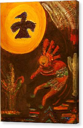 Me Alegra Que Te Gusta Mi Kokopelli Canvas Print by Anne-Elizabeth Whiteway