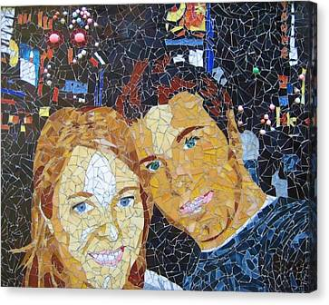 Me And Santi In Times Square Canvas Print by Rachel Van der pol