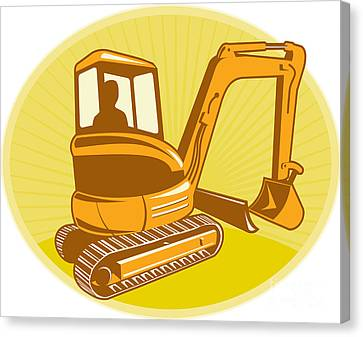 Mechanical Digger Excavator Retro Canvas Print by Aloysius Patrimonio