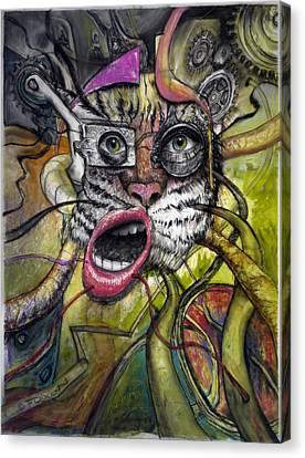 Mechanical Tiger Girl Canvas Print by Frank Robert Dixon