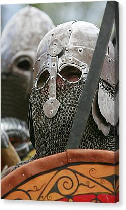 Mediaeval Soldier Re-enactment Canvas Print by Science Photo Library