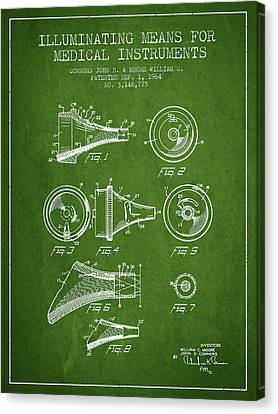 Medical Instrument Patent From 1964 - Green Canvas Print by Aged Pixel