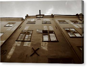 Medieval House With Open Window - Sepia Canvas Print by Ulrich Kunst And Bettina Scheidulin