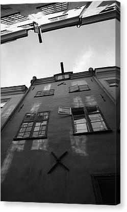 Medieval Houses Seen From Below - Monochrome Canvas Print by Ulrich Kunst And Bettina Scheidulin
