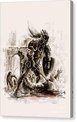 Medieval Knight Canvas Print by Mariusz Szmerdt