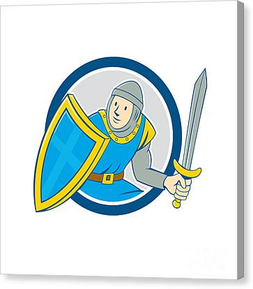 Medieval Knight Shield Sword Circle Cartoon Canvas Print by Aloysius Patrimonio