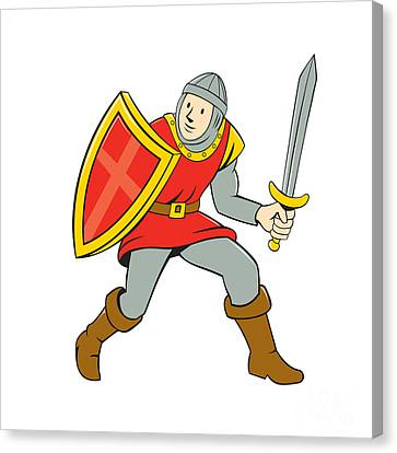 Medieval Knight Shield Sword Standing Cartoon Canvas Print by Aloysius Patrimonio