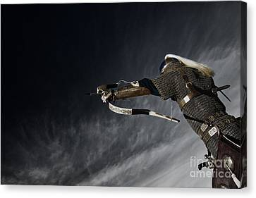 Medieval Knight With Bow And Arrow Canvas Print by Holly Martin