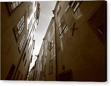 Medieval Street Seen From Below - Monochrome Canvas Print by Ulrich Kunst And Bettina Scheidulin