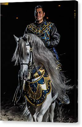 Medieval Times Knight And Horse Canvas Print by Gene Sherrill
