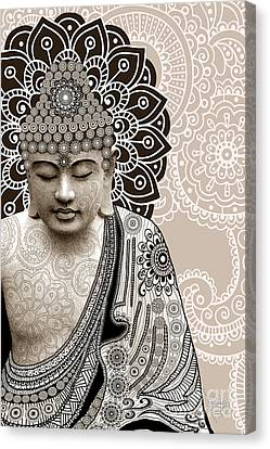 Meditation Mehndi - Paisley Buddha Artwork - Copyrighted Canvas Print by Christopher Beikmann