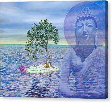 Meditation On Buddha Blue Canvas Print by Dominique Amendola