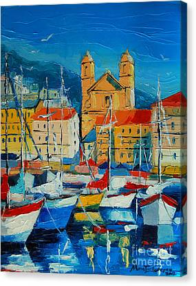 Mediterranean Harbor Canvas Print by Mona Edulesco