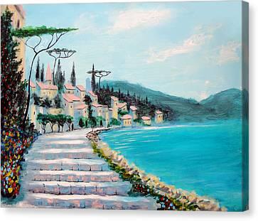 Mediterranean Shores Canvas Print by Larry Cirigliano