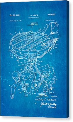 Meditz Helicopter Device Patent Art 1969 Blueprint Canvas Print by Ian Monk